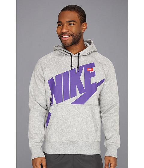 Bluze Nike - AW77 Pullover Hoodie - Exploded Logo - Dark Grey Heather/Electro Purple