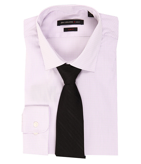 Camasi John Varvatos - Slim Fit Jacquard Check Dress Shirt - Pale Pink