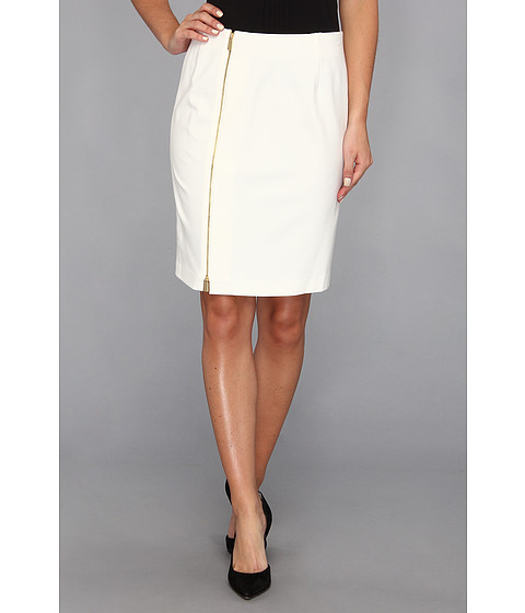 Fuste Vince Camuto - Full Front Zip Pencil Skirt - Light Cream
