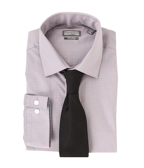 Camasi Kenneth Cole - Regular Fit Textured Check Dress Shirt - Storm