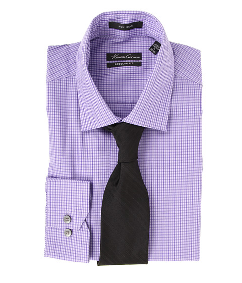 Camasi Kenneth Cole - Non Iron Regular Fit Textured Check Dress Shirt - English Violet