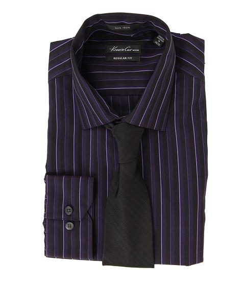 Camasi Kenneth Cole - Non Iron Regular Fit Textured Stripe Dress Shirt - Raisin