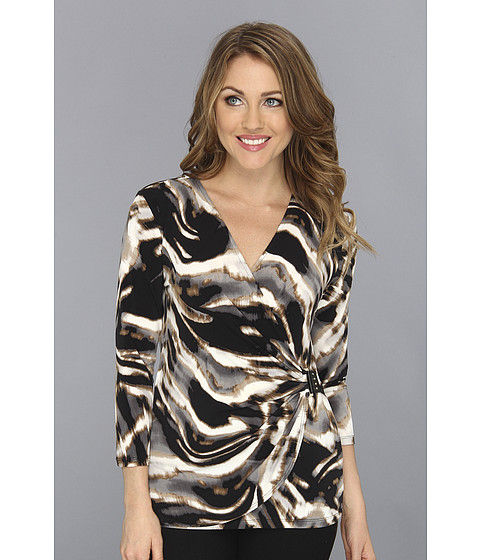 Bluze Calvin Klein - Wrap Top w/ PU - Camel Combo