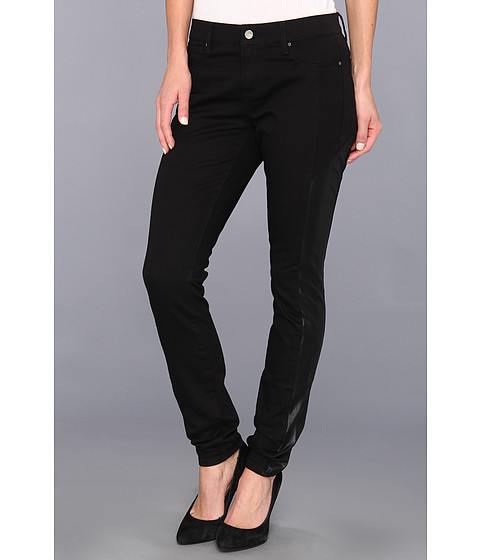 Pantaloni DKNY - Faux Leather Pieced Legging in Noir - Noir
