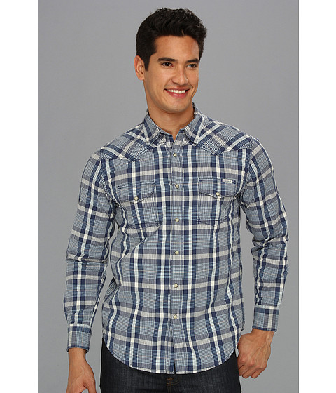 Camasi Lucky Brand - Powder Line Plaid Western Shirt - Navy/Blue/White