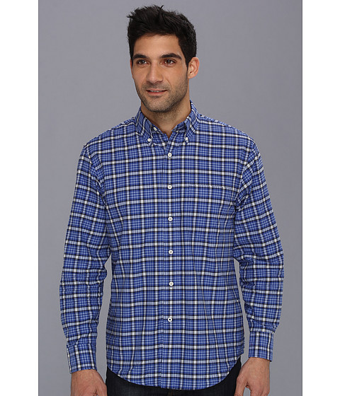 Camasi IZOD - Long Sleeve Slim Fit Vivid Plaid Button-Down - Mazarine Blue