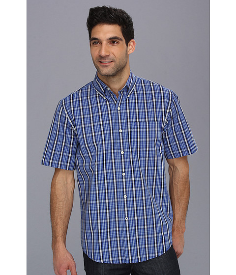 Camasi IZOD - Short Sleeve Mini Plaid Chest Pocket Button-Down - Mazarine Blue
