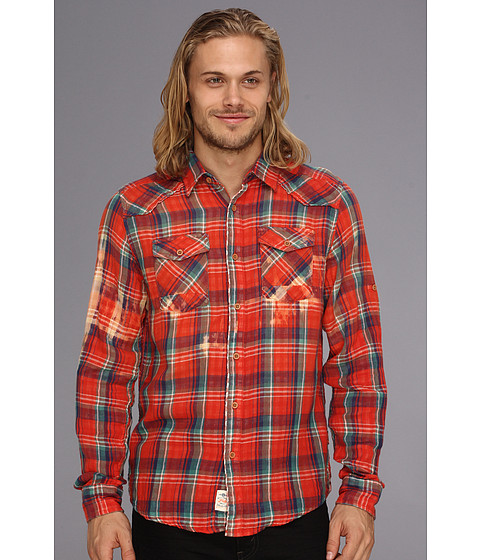 Camasi Fresh Brand - Faded Bounded Plaid Shirt - Red