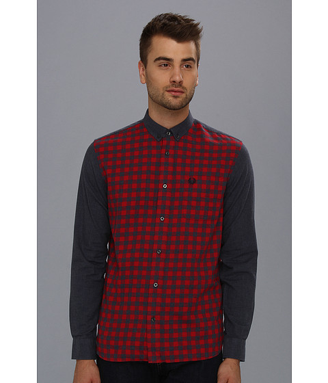 Camasi Fred Perry - Gingham Marl Shirt - Blood/Navy Marl