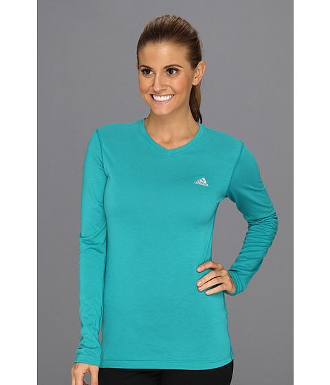 Bluze adidas - Ultimate Long-Sleeve V-Neck Tee - Blast Emerald/Reflective Silver