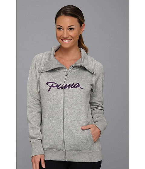 Bluze PUMA - Full Zip Cowl Neck Sweat - Athletic Gray Heather