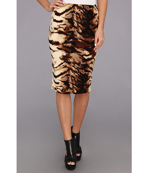 Fuste rsvp - Eden Tiger Print Pencil Skirt - Brown