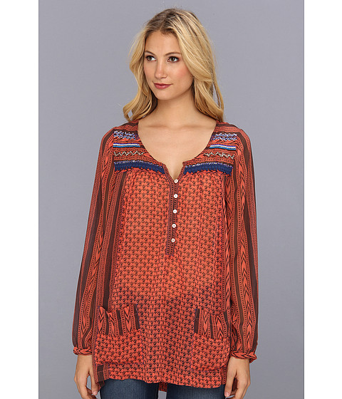 Bluze Free People - Printed Penny Georgette Feather In The Wind Top - Blood Orange Combo