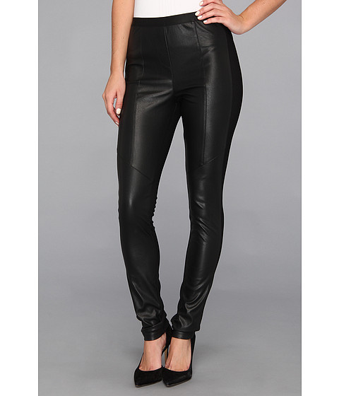 Pantaloni BCBGMAXAZRIA - Maddex Knit Pant Faux Leather - Black