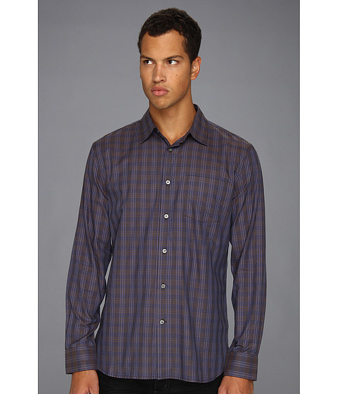 Camasi John Varvatos - Luxe Slim Fit Blue Plaid Shirt - Cobalt