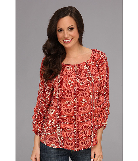 Bluze Lucky Brand - Ikat Canyon Rug Top - Red Multi