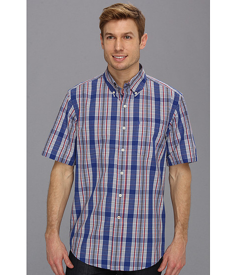 Camasi IZOD - Short Sleeve Plaid Chest Pocket Button-Down - Mazarine Blue