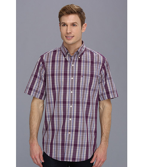 Camasi IZOD - Short Sleeve Plaid Chest Pocket Button-Down - Plum Purple