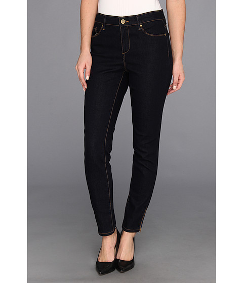 Blugi Anne Klein New York - Leo Skinny Ankle w/ Exposed Zipper in Dark Rinse Wash - Dark Rinse Wash