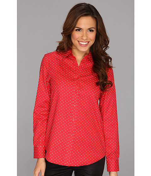 Camasi Jones New York - No-Iron Easy Care Boyfriend Shirt - Poppy/White