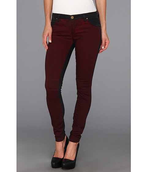 Blugi Blank NYC - The Two-Tone Skinny Classique in Black/Wine Red - Black/Wine Red