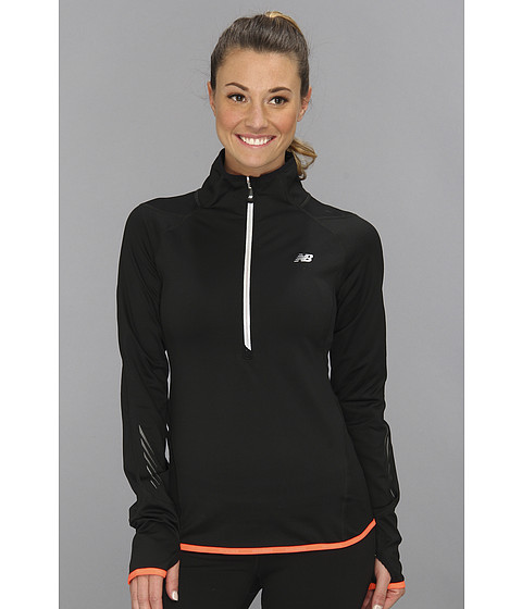 Bluze New Balance - Impact Thermal 1/2 Zip - Black/Fiery Coral
