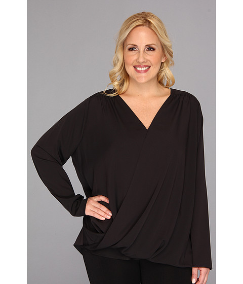 Bluze DKNY - Plus Size L/S Wrap Front Blouse w/ High-low Hem - Black