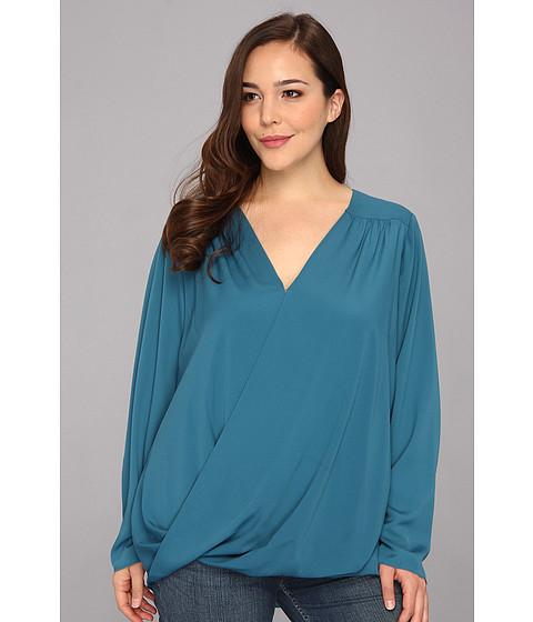 Bluze DKNY - Plus Size L/S Wrap Front Blouse w/ High-low Hem - Blue Shadow