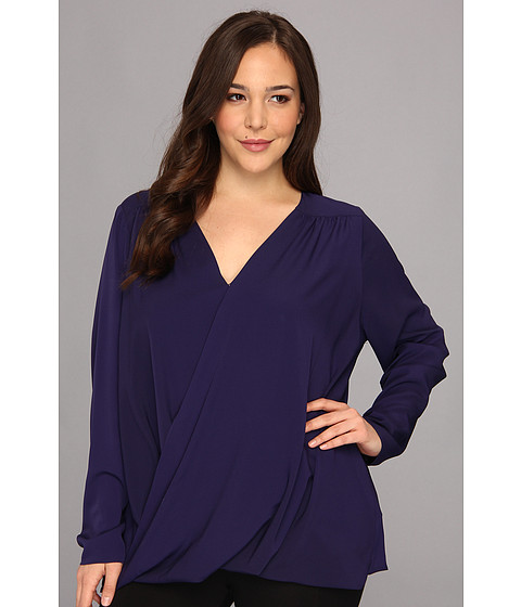 Bluze DKNY - Plus Size L/S Wrap Front Blouse w/ High-low Hem - Astral Blue