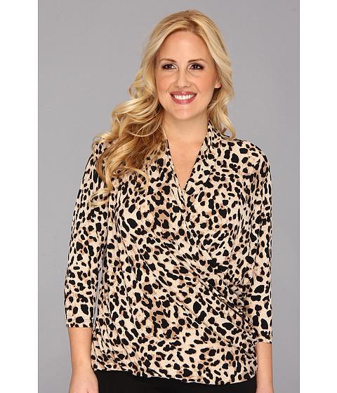 Bluze Vince Camuto - Plus Size 3/4 Sleeve Low Wrap Animal Top - Rich Black