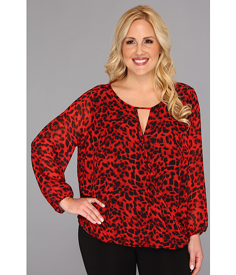 Bluze Vince Camuto - Plus Size L/S Wrap Front Animal Blouse - Rouge