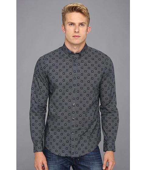 Camasi Ben Sherman - Geometric Spot Print L/S Woven Shirt - Staples Navy