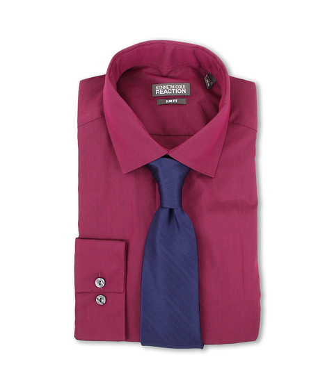 Camasi Kenneth Cole - Slim Fit Iridescent Solid Dress Shirt - Cherry
