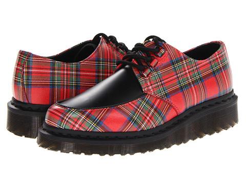 Pantofi Dr. Martens - River 3-Eye Shoe - Red Stewart Tartan Leather/Black Smooth