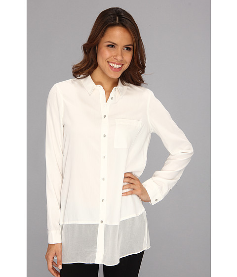 Bluze Calvin Klein Jeans - Sheer Shirttail Button-Down Sandwashed Modal Woven - Star White