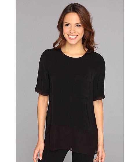 Bluze Calvin Klein Jeans - Sheer Bottom Fabric Mix One-Pocket Top - Black