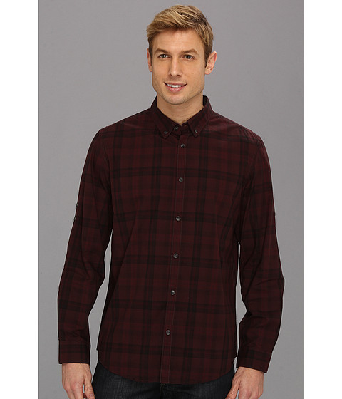 Camasi Calvin Klein Jeans - Large Tonal Plaid L/S Shirt - Mulberry Wine