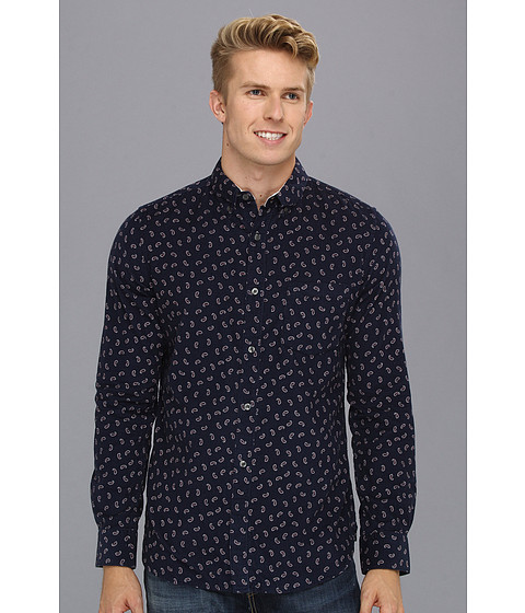 Camasi French Connection - Blitzen Printed Cord L/S Shirt - Black Iris
