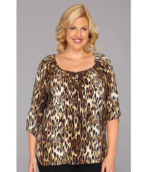 Bluze Karen Kane - Plus Size Blouson Sleeve Top W/Placket - Leopard
