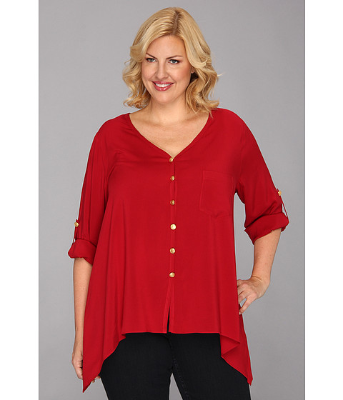 Bluze Karen Kane - Plus Size Rolled Sleeve Pocket Shirt - Red