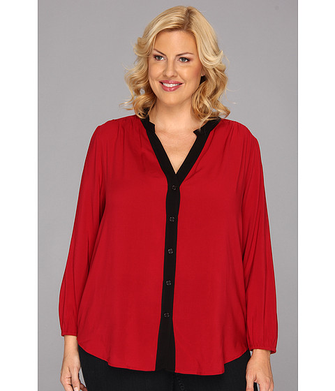 Bluze Karen Kane - Plus Size Long Sleeve Contrast Shirt - Red/Black