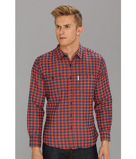 Camasi ECKO - Check Yourself L/S Woven Shirt - Wine Red Heather