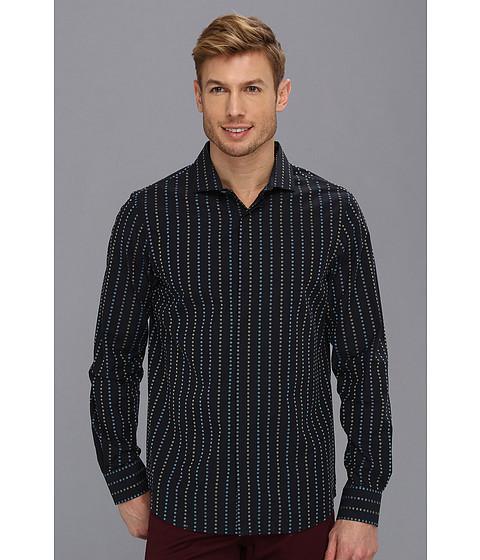 Camasi Perry Ellis - Slim Fit Dot Stripe L/S Shirt - Black