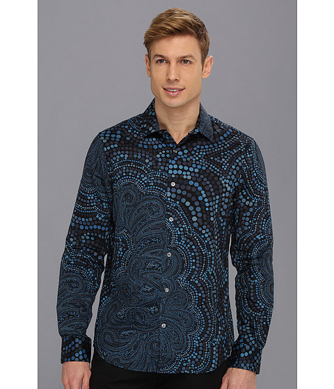 Camasi Perry Ellis - Slim Fit Paisley Dot Print Shirt - Black