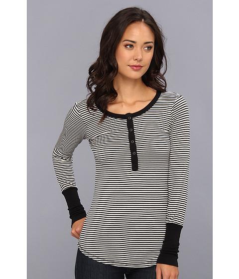 Bluze Splendid - Mini Stripe Thermal Henley - Sand Dollar