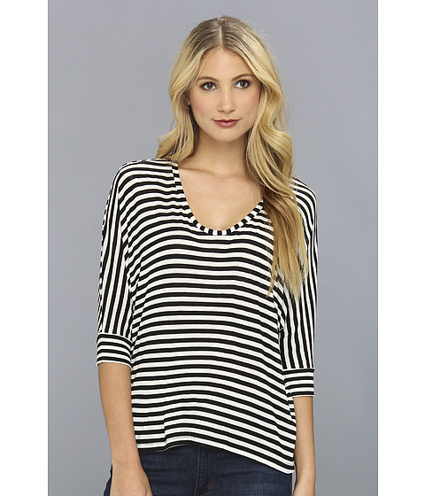 Bluze Splendid - Striped Drapey Lux Dolman Sleeve Top - White