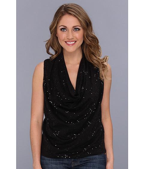 Bluze DKNY - Sleeveless Drape Front Top w/ Sequins - Black