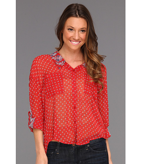 Bluze Free People - Print Easy Rider Button Up - Red Combo