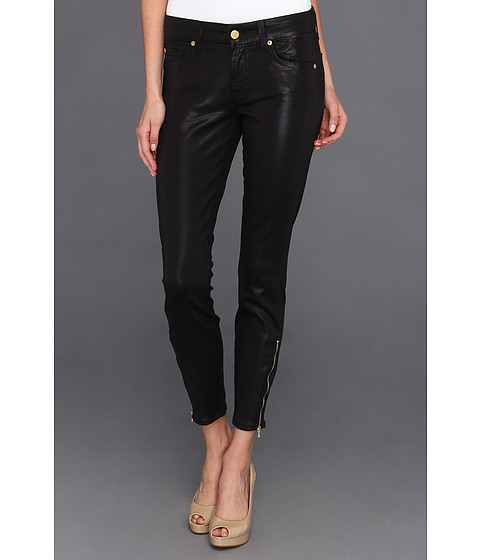 Blugi 7 For All Mankind - Cropped Skinny w/ Ankle Zip in High Gloss Black - High Gloss Black
