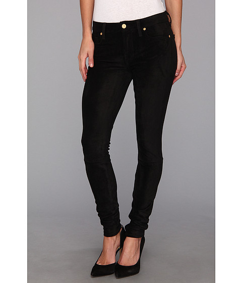 Blugi 7 For All Mankind - Sueded Skinny Jean in Black Suede - Black Suede